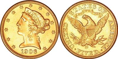 US Half Eagle Gold Coin